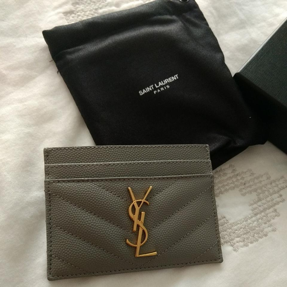 a042afb2cf5 Saint Laurent Grey YSL Monogram Card Holder Card Case Wallet Image 4. 12345
