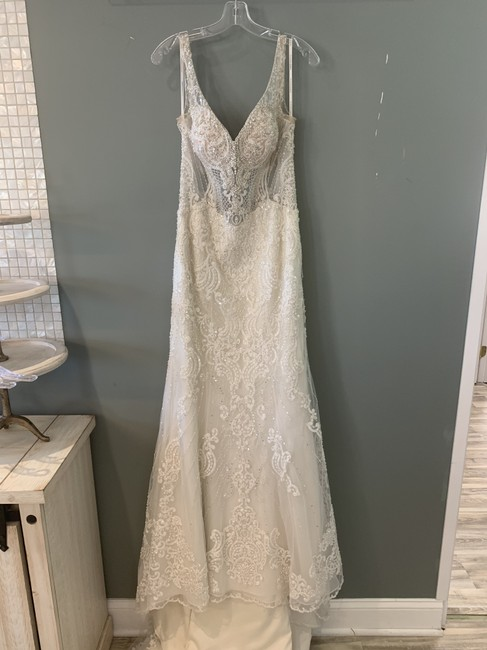 Item - (Iscf-pl) Ivory Silver Lace Tulle and Regency Organza Over Cafe Lavish Satin Porcelain Tulle Illusion Beaded Ml811 Formal Wedding Dress Size 8 (M)
