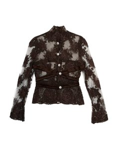 Valentino Lace Crystal Satin Brown Jacket