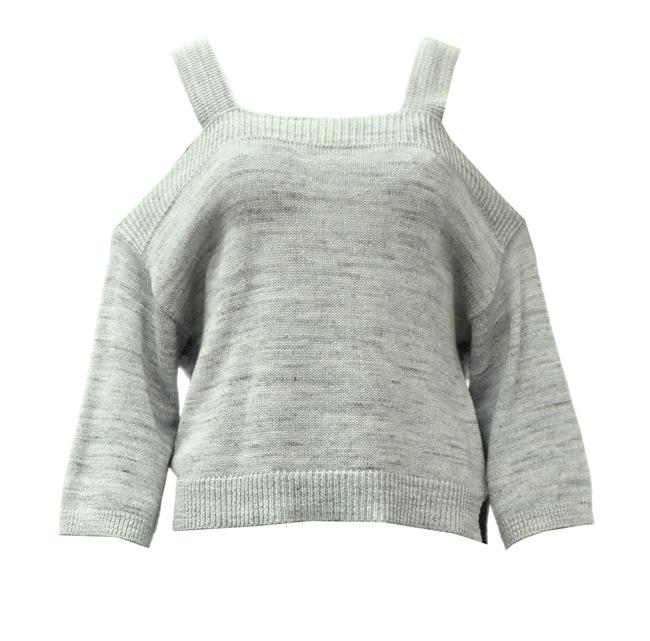 Item - Cold Shoulder Knit Chambray Sweater