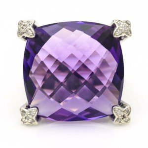 David Yurman Sterling Silver Amethyst and Diamond Cushion on Point Ring