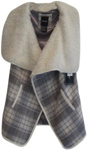 Me Jane Collarless Neckline Plaid Print Open Front Faux Fur Lined Vest