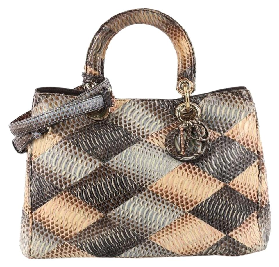 67fcb0995805 Dior Diorissimo Patchwork Medium Multicolor Python Skin Leather Tote ...