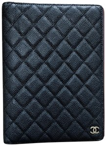 Chanel Chanel Black Caviar & Burgundy Red Quilted Leather Agenda Notebook