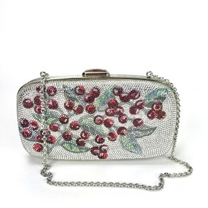 Judith Leiber Evening Crystal Small Floral Silver/Multi Clutch