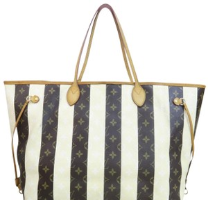 Item - Neverfull Shoulder Bag Gm Rayures Limited Edition Striped Cream and Brown Monogram Rare Canvas Collectors Tote