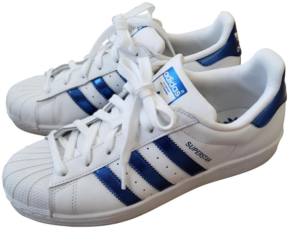 adidas White with Metallic Blue Superstar Sneakers Size US 8 Regular ... 68bbebd7e