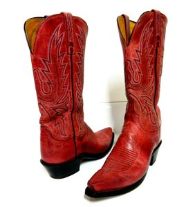 Lucchese Leather Red Boots