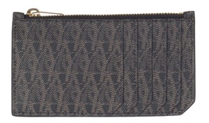 Saint Laurent Saint Laurent Brown Pebbled Leather Monogram Zipped Five Card Case