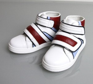 Gucci White/Blue/Red Kids Leather Coda Pop High-top Sneaker G 31/ Us 13 301353 301354 Shoes