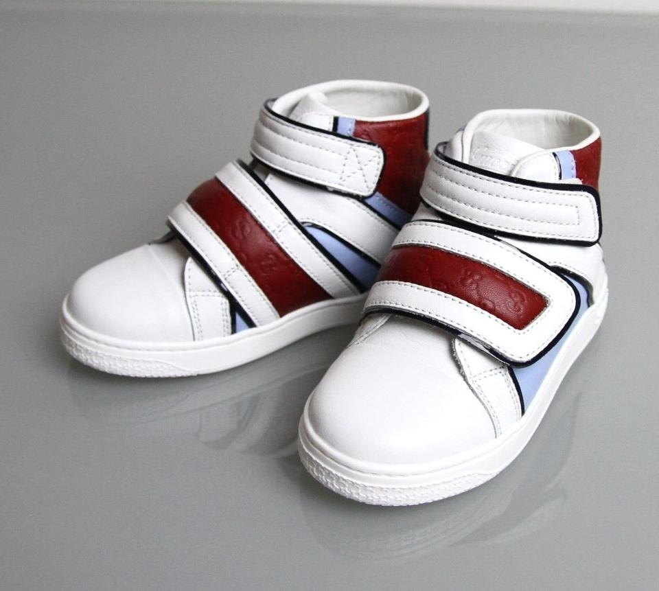 fd4796ca5 Gucci White/Blue/Red Kids Leather Coda Pop High-top Sneaker G 31/ Us ...