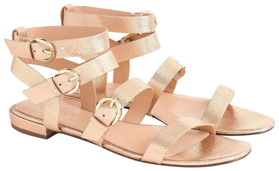 59260e71cfb J.Crew Rose Gold Metallic Blush Buckled Gladiator Flats Sandals Size ...