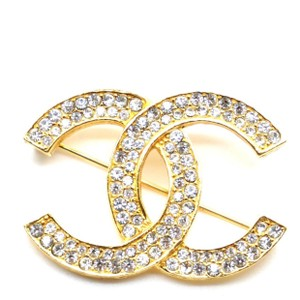Chanel Chanel #19450 Gold Timeless Cc Smoked Crystals Hardware Brooch Pin Charm