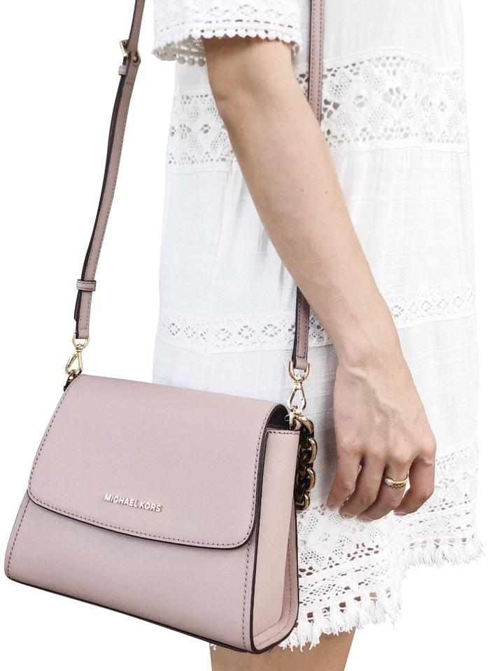 b2920d35f320 Michael Kors East West Sofia Portia Small Satchel Fawn Leather Cross Body  Bag