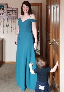 Mori Lee Teal Chiffon With Draped Off The Shoulder Cap Sleeves 141 Formal Bridesmaid/Mob Dress Size 8 (M)