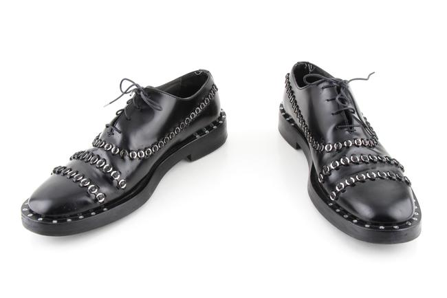 Item - Black Glossy Calfskin Ring Embroidered Oxford Shoes