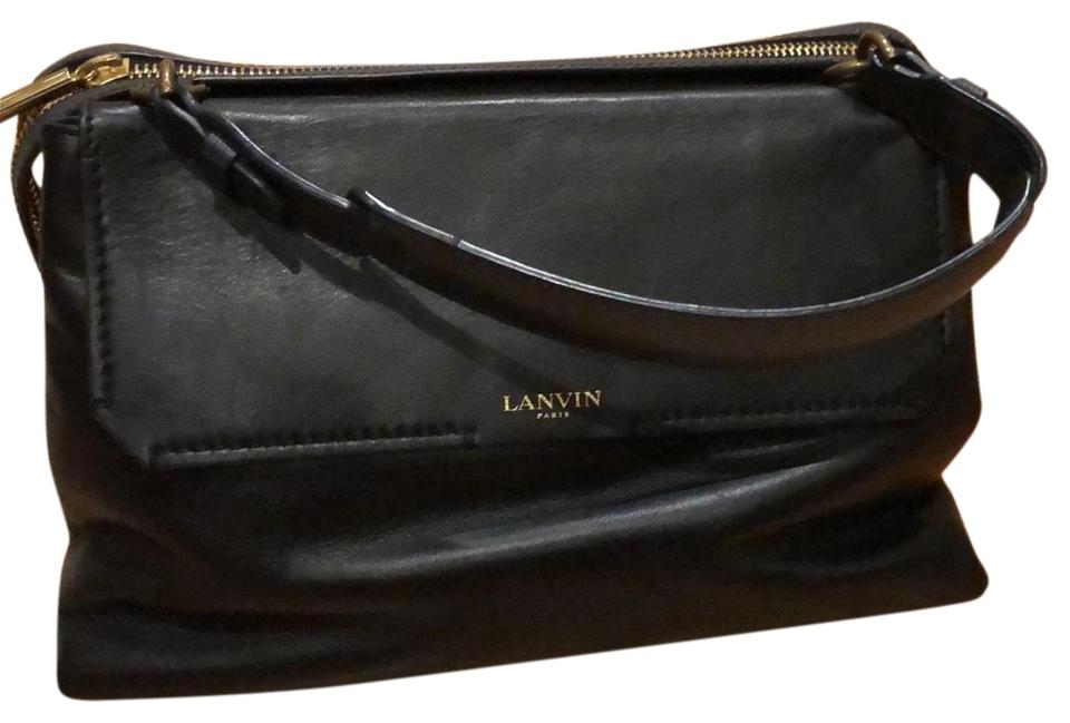 Lanvin With Accent Luxury Top Handles Padam Black Navy Calfskin Leather  Satchel b83515032f272