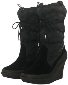 Coach Winter Wedge Tall Lace Up Suede Black Boots