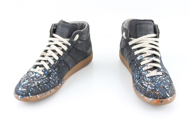 Item - Blue Gray Leather Replica Paint Splatter High Top Sneakers Shoes