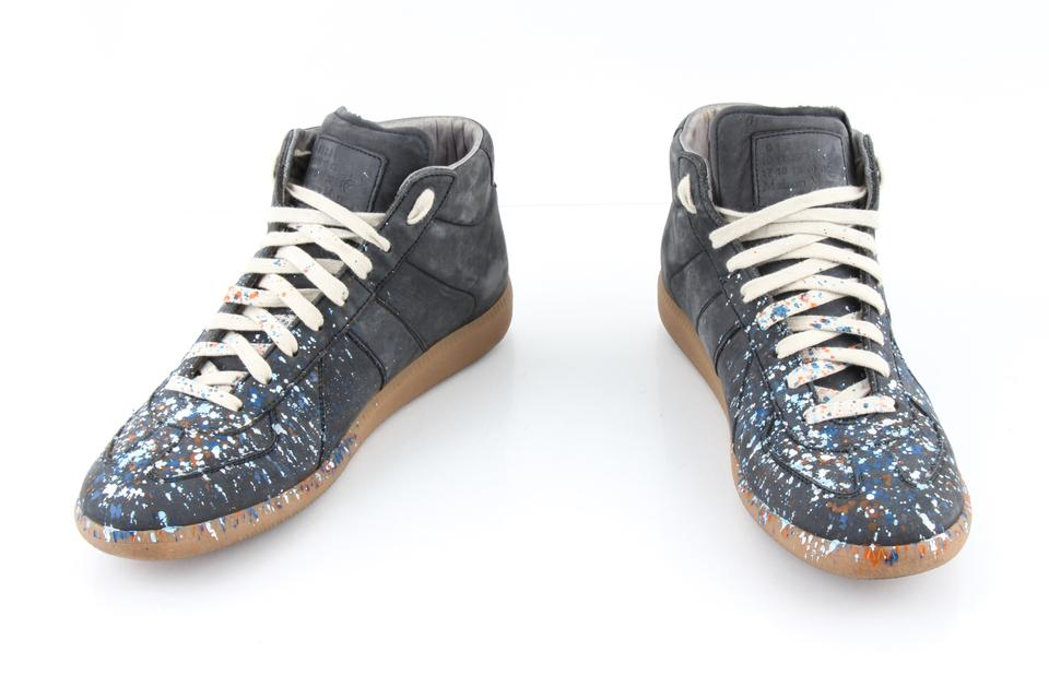 661a8738bbf007 Maison Margiela Blue Gray Leather Replica Paint Splatter High Top Sneakers  Shoes Image 0 ...