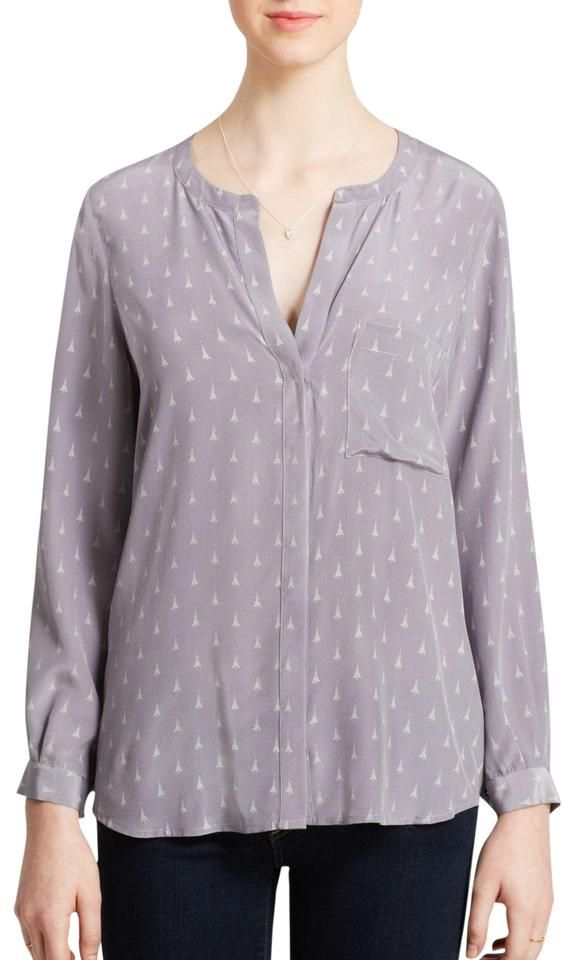 6beee9fdc9aed2 Joie Gray White Hanelli Eiffel Tower Print Silk Blouse Size 12 (L ...