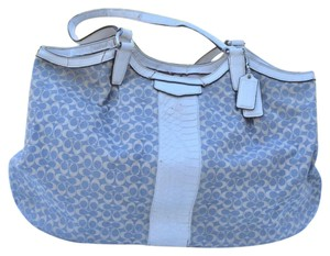 Coach Tote in blue & white