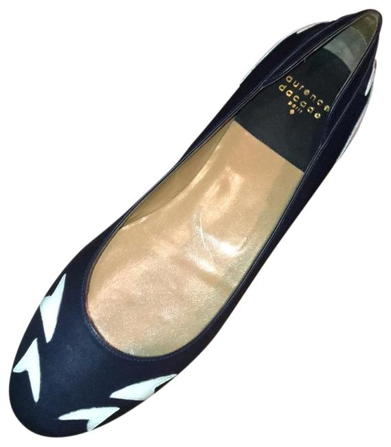 Item - Navy and White Fedora Leather Flats Size EU 41 (Approx. US 11) Narrow (Aa, N)