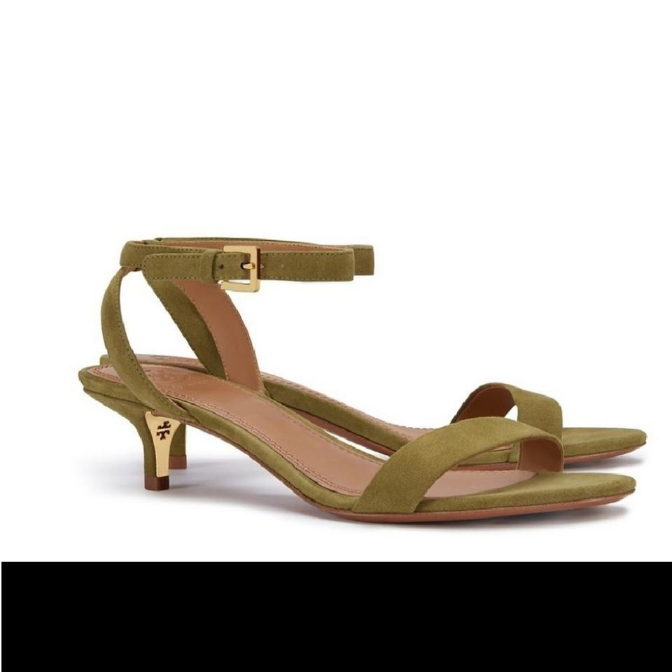 654a414eab3c4b Tory Burch Olive Green Elana Suede Leather Ankle Strap Sandals ...