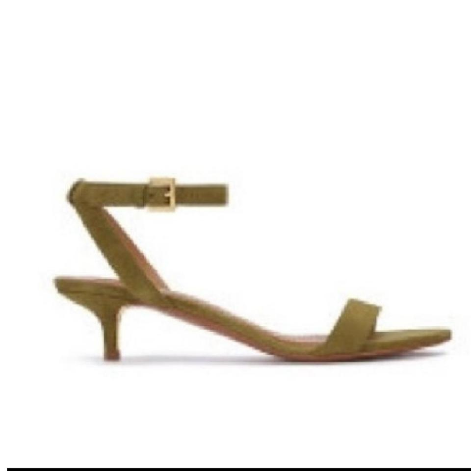 1df11747077b65 Tory Burch Olive Green Elana Suede Leather Ankle Strap Sandals Formal Shoes