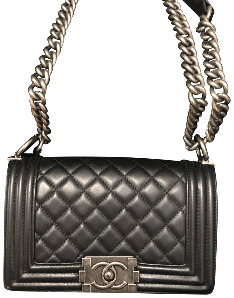 12026cec70cd Chanel Boy Quilted Flap Black Lambskin Leather Cross Body Bag - Tradesy