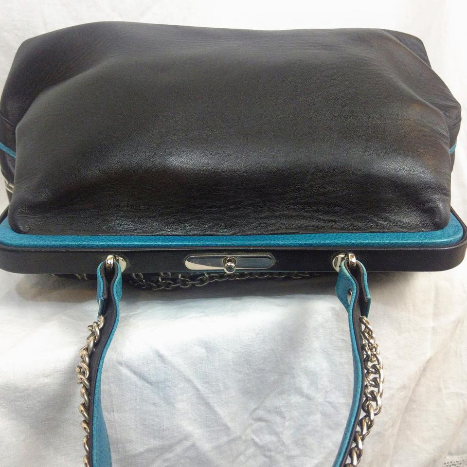 Isabella Fiore Boston Terrier Dog Chain Black Blue Turquoise Red Silver  Satchel