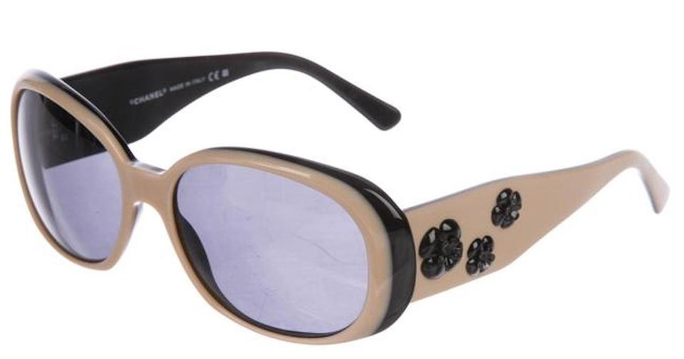a20d24a6bb0d Chanel Beige Black 5113 Cc Logo Camellia Flower White Sunglasses ...