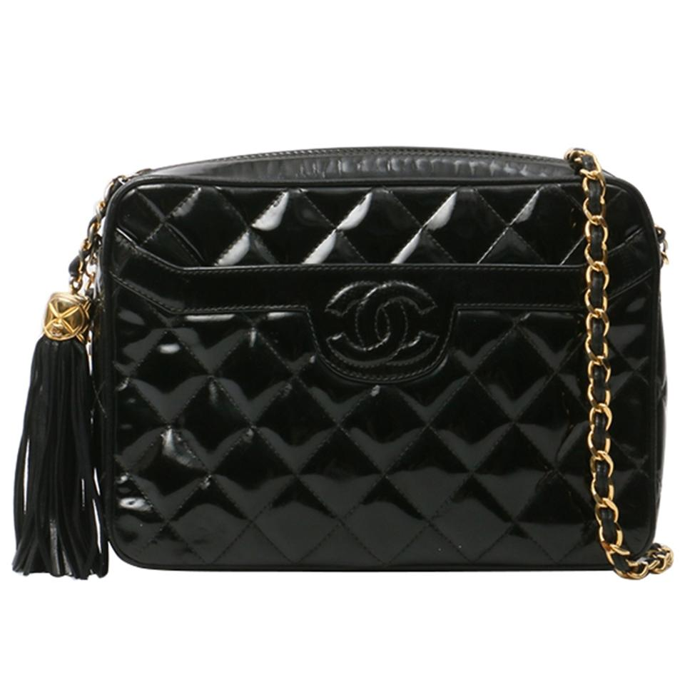 9a8f11df868c2e Chanel Camera Vintage Tassel Quilted Crossbody Black Patent Leather ...