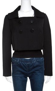 PAULE KA Black Wool Double Breasted Cropped Jacket M
