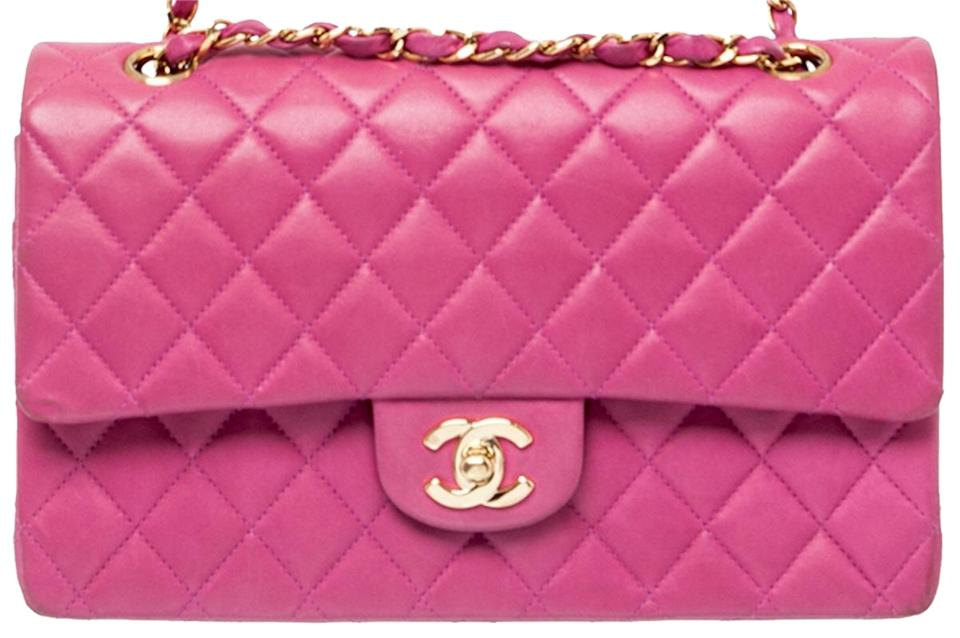 85de88f135 Chanel 2.55 Reissue Double Flap Classic Quilted Cc Logo Medium Large  Fuchsia Pink Lambskin Leather Shoulder Bag