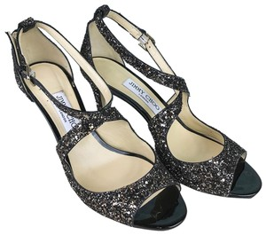 Jimmy Choo Glitter Emily Heels Black Sandals