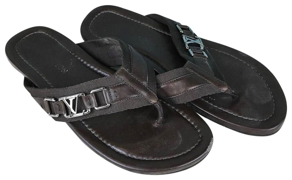 07daab5cc635 Louis Vuitton Brown Men s Leather Lv Buckle Hamptons Flip Flop ...