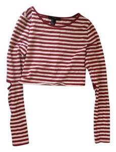 Forever 21 Crop Sailor Summer Cute Top red and white stripes