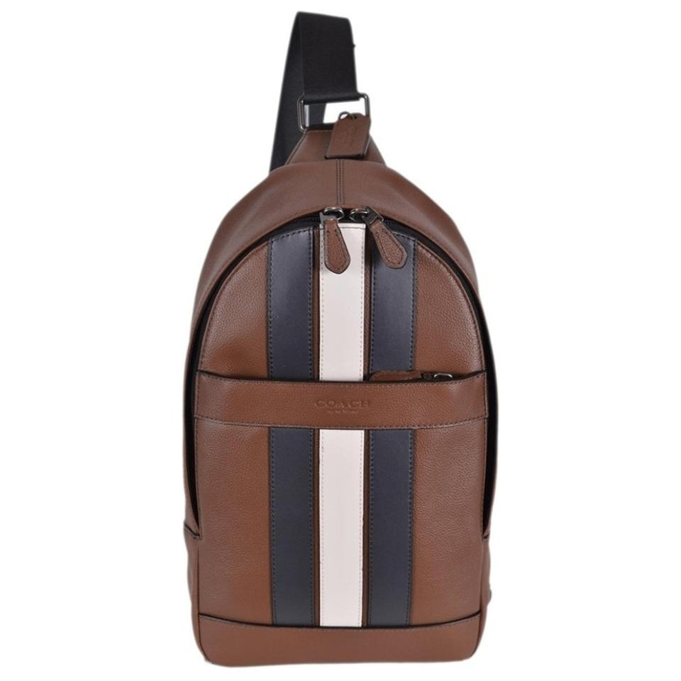 4f5010ed Coach Varsity Stripe Moto Sling Brown Leather Backpack 47% off retail