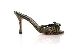 Manolo Blahnik Snake Sparkly Slide Embellished Bronze Sandals