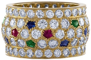Cartier Cartier 18K Yellow Gold Sapphire, Emerald , Ruby and Diamond Ring Size