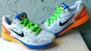 big sale bbf31 32881 Nike White Blue Orange Yellow Lunarglide 6 Men s Swoosh Running 11 Shoes
