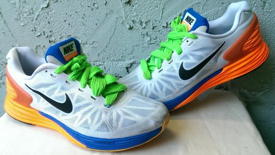 competitive price e92f9 8cdc4 Nike White Blue Orange Yellow Lunarglide 6 Men's Swoosh Running 11 Shoes  36% off retail