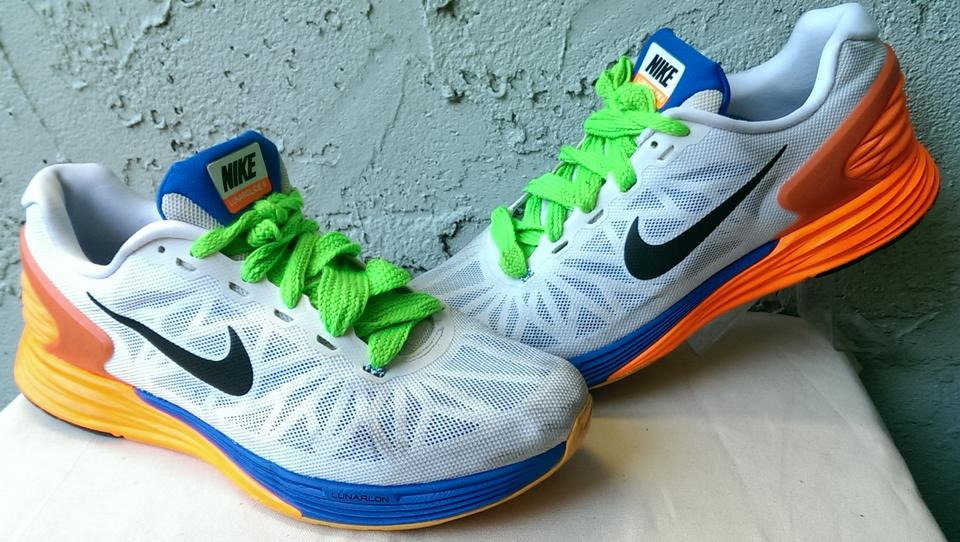 check out e1141 f43dc ... spain nike white blue orange yellow lunarglide 6 mens swoosh running 11  shoes fa59c 27ff3
