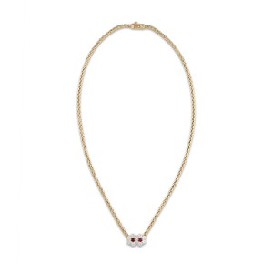Mauboussin Mauboussin 18K Yellow Gold Ruby Diamond Flower Necklace Length: 16.5""