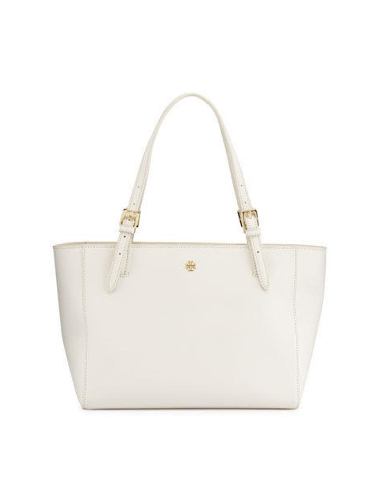 e6e545afd111 Tory Burch Emerson Small Buckle Tote 104 Ivory Leather Shoulder Bag ...