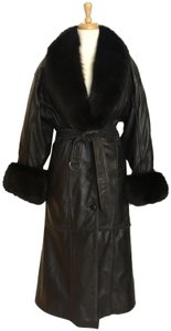 Adolfo Leather Long Winter Fur Coat