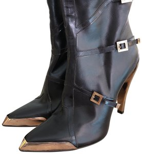 Hervé Leger dark brown with brass tone resin. Boots