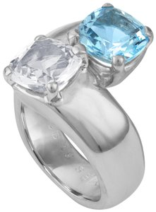 Hermès Hermes 925 Sterling Silver White and Blue Spinel Ring Size: 5.25