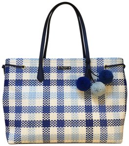 77542d8a0bb82 Kate Spade Tremont Lane Gingham Tote in Blue and White